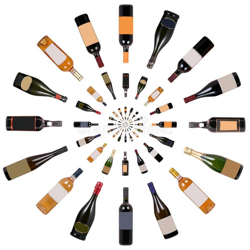 Vórtice de las botellas de vino foto de archivo