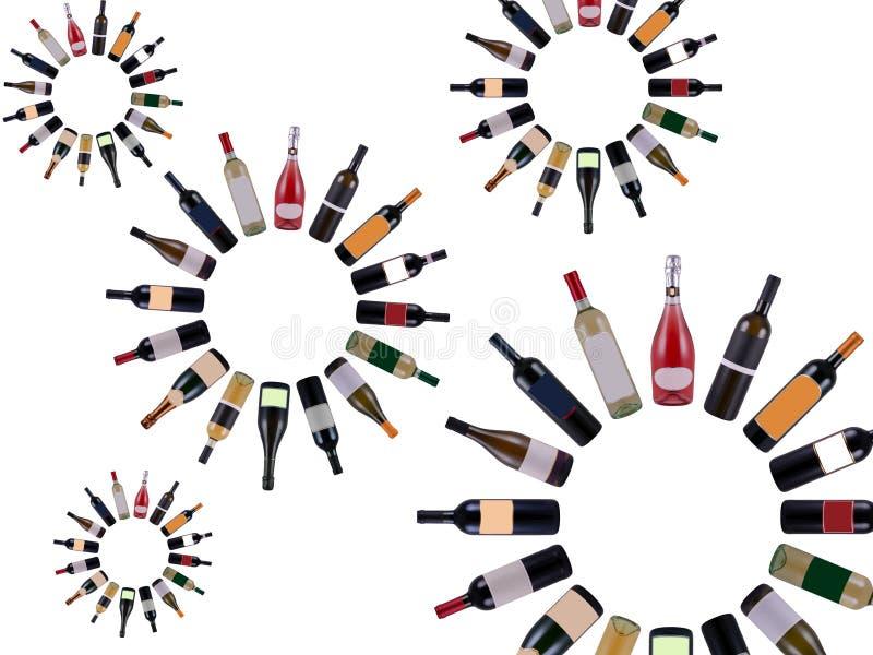 Vórtice de las botellas de vino stock de ilustración