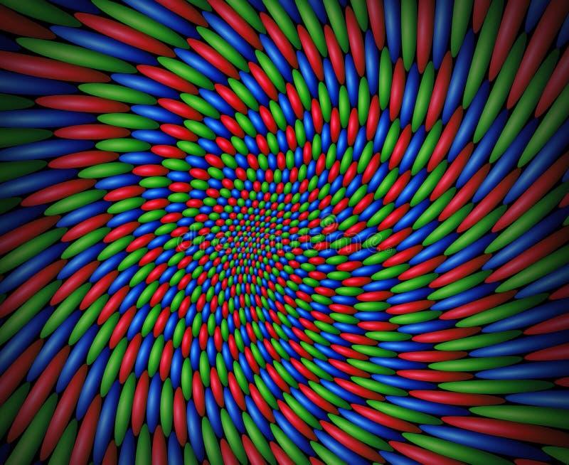 Vórtice que remolina de esferas rojas, verdes y azules stock de ilustración