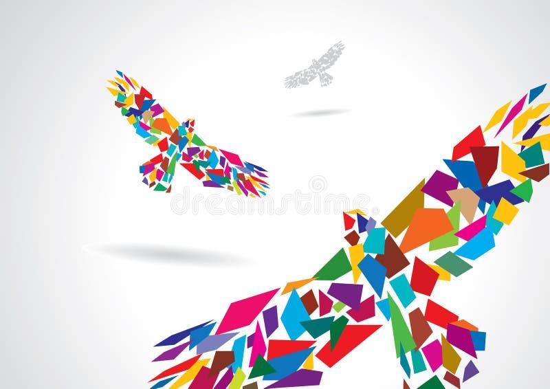 Vôo abstrato colorido do pássaro ilustração do vetor