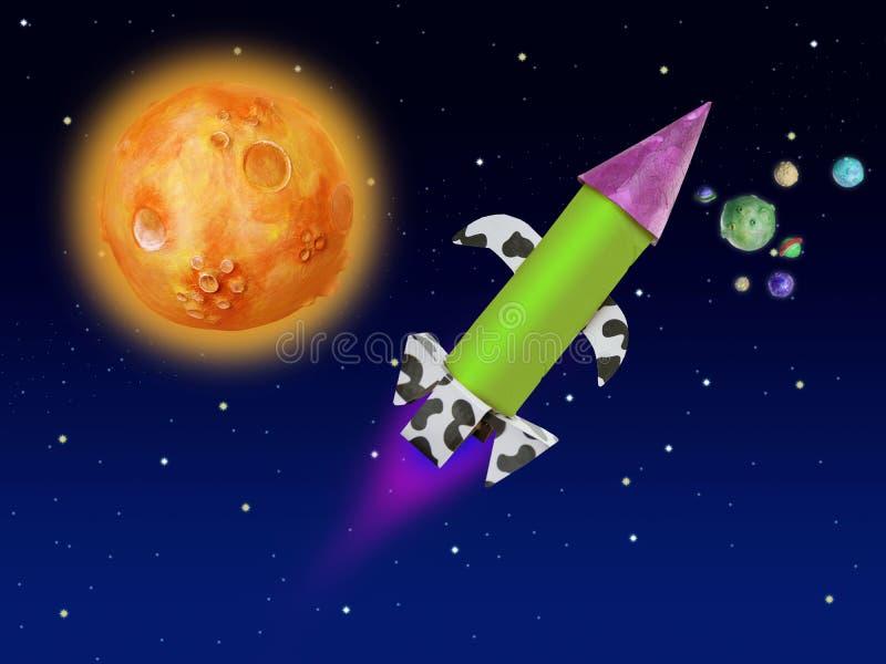 Vôo colorido do foguete da fantasia no espaço azul ilustração stock
