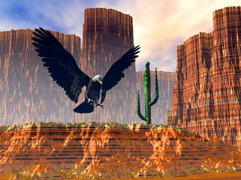 Vôo da águia sobre o deserto fotos de stock royalty free