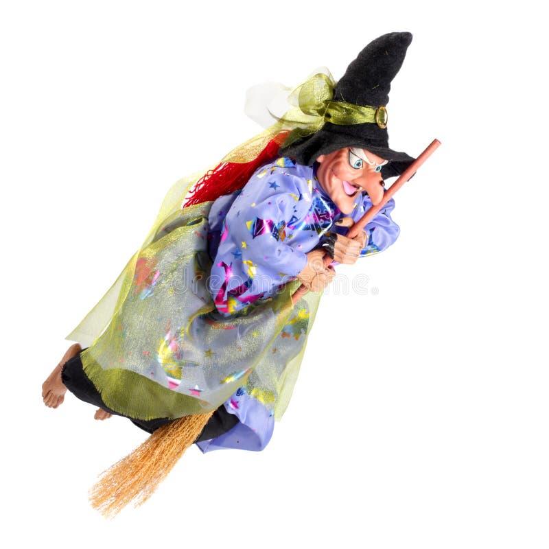 Vôo da bruxa na vassoura fotografia de stock