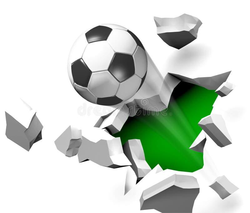 Vôo da esfera de futebol através da parede. ilustração stock