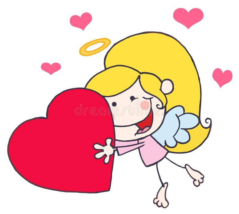 Vôo da menina do Cupid da vara dos desenhos animados com coração ilustração stock