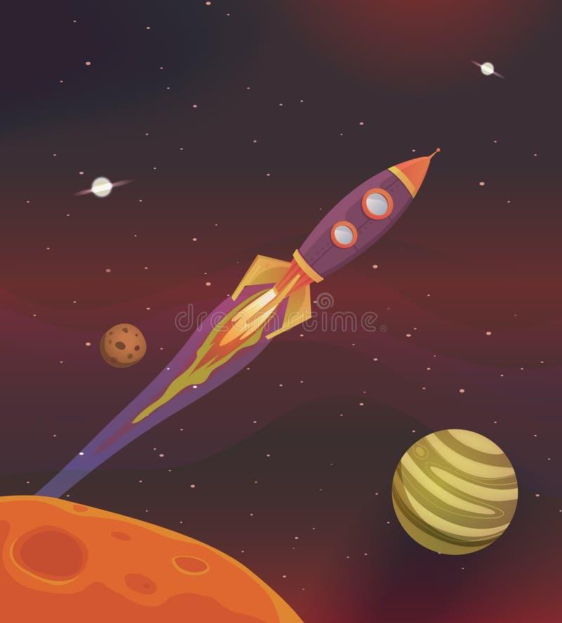 Vôo da nave espacial dos desenhos animados na galáxia ilustração do vetor
