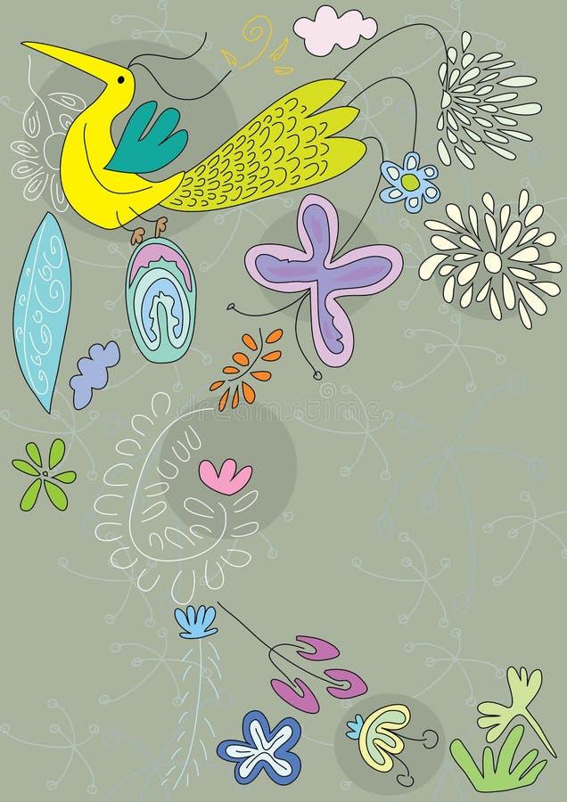Vôo de Bbird com flores ilustração stock