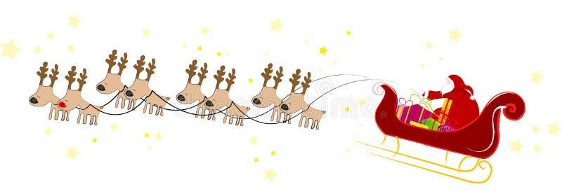 Vôo de Papai Noel com trenó ilustração stock