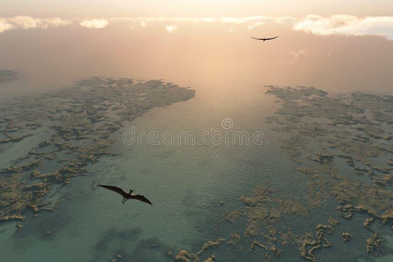 Vôo de Pteranodon acima do delta do rio fotos de stock royalty free