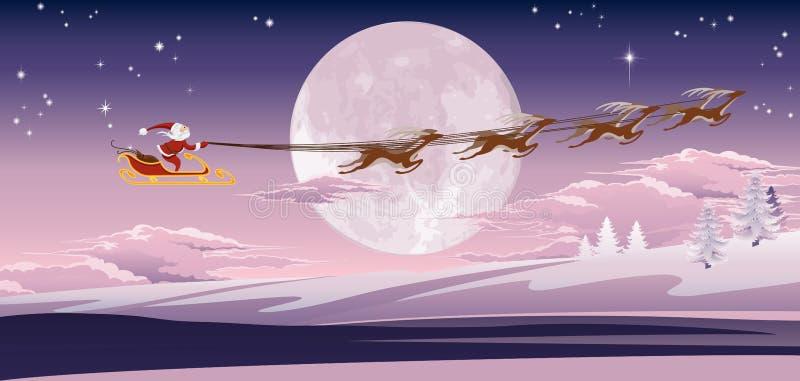 Vôo de Santa na frente da lua do inverno ilustração royalty free