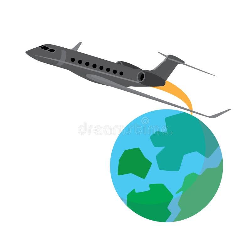 Vôo do avião em torno do globo fotografia de stock