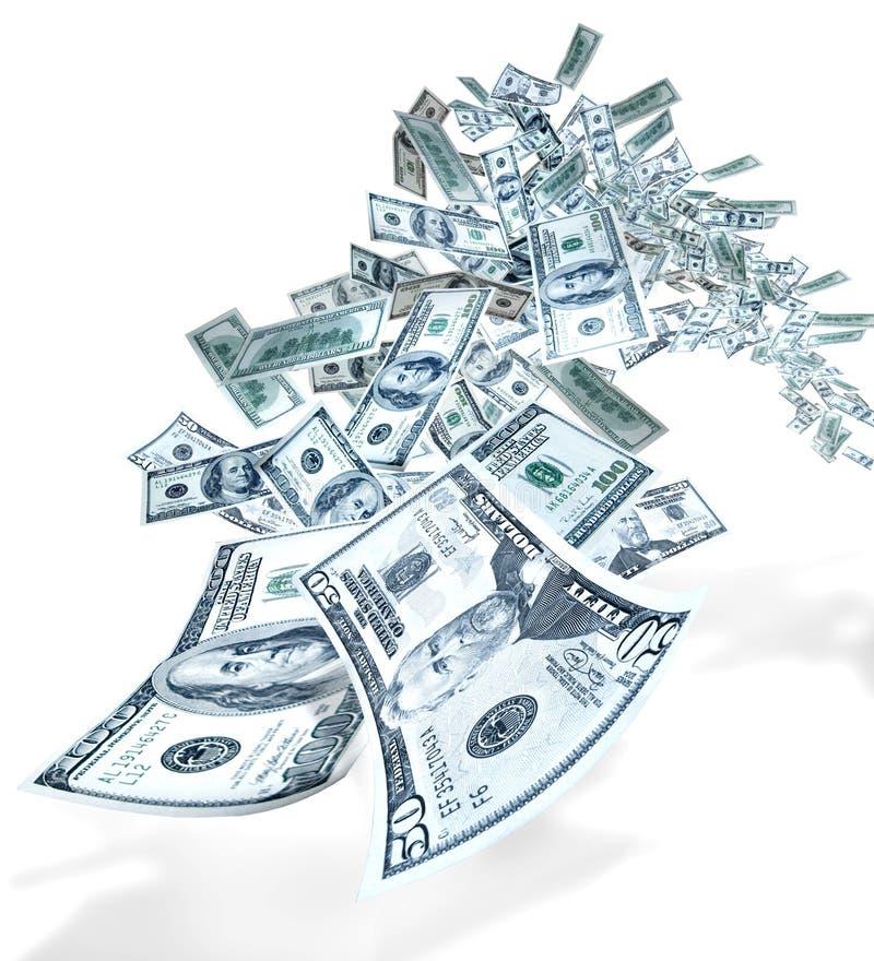 Vôo do dinheiro imagem de stock