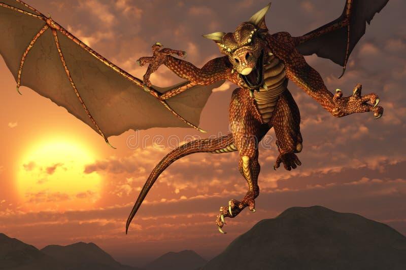 Vôo do dragão no por do sol ilustração stock