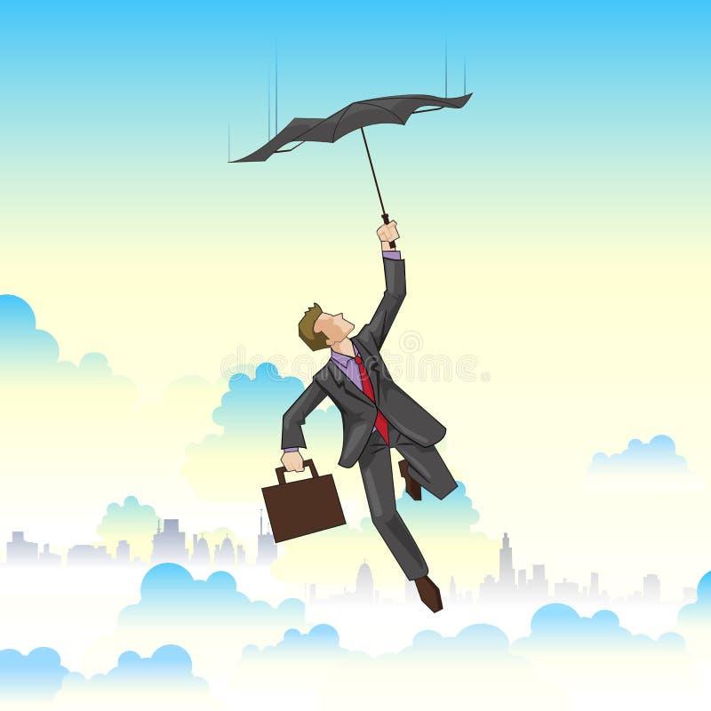 Vôo do homem de negócios no guarda-chuva ilustração do vetor