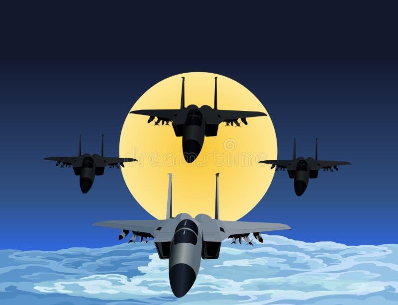 Vôo do lutador F-15 na formação na noite ilustração royalty free