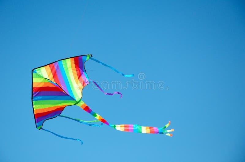 Vôo do papagaio, céu azul fotografia de stock
