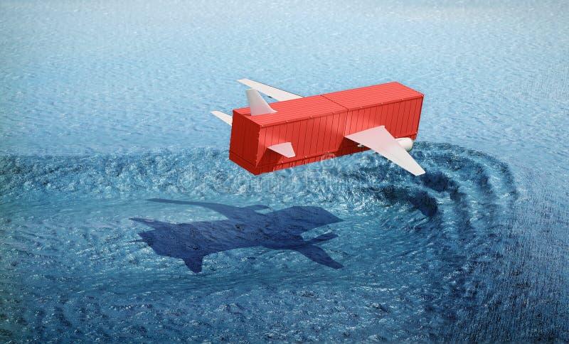 Vôo do recipiente sobre a superfície do oceano ilustração stock
