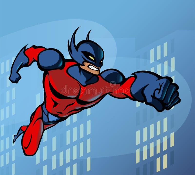 Vôo do super-herói ilustração stock