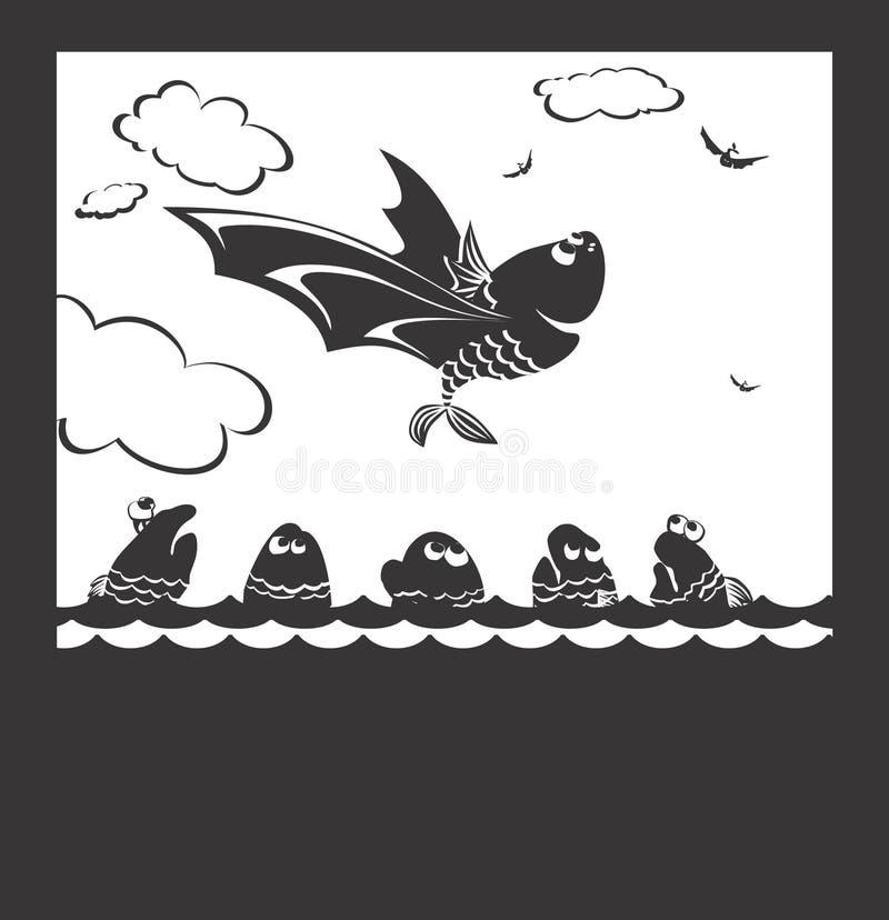 Vôo dos peixes ilustração royalty free