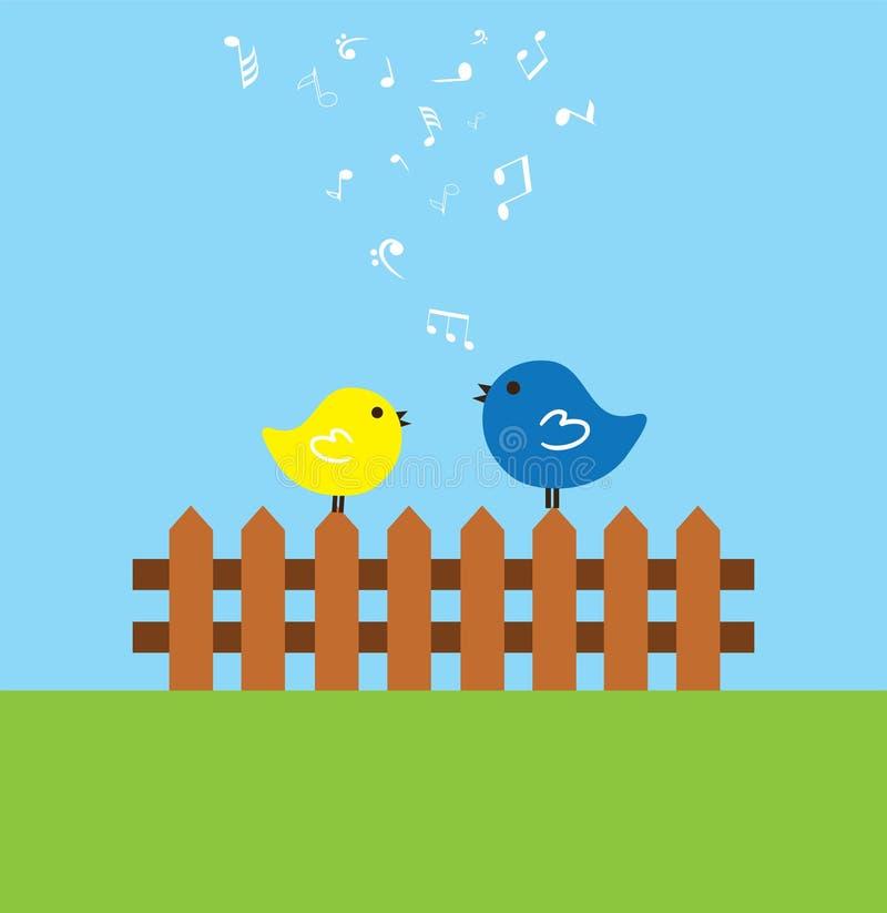 Vögel auf dem Zaun lizenzfreie abbildung