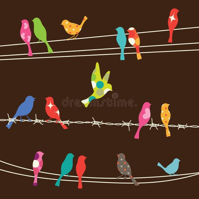 Vögel auf Drähten lizenzfreie abbildung
