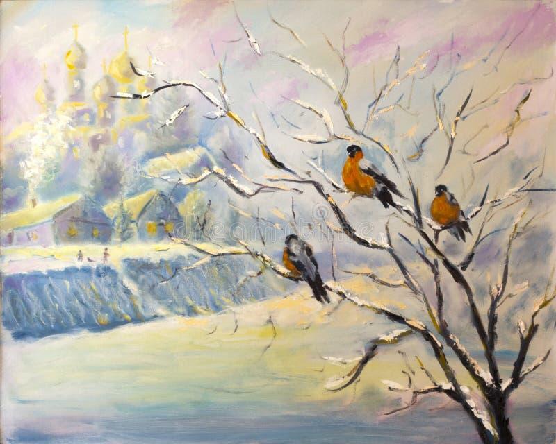 Vögel auf einem Baum im Winterdorf lizenzfreie abbildung