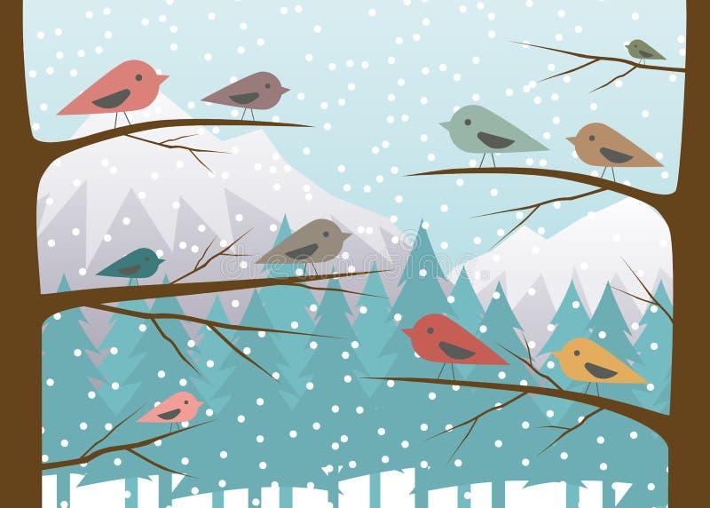 Vögel auf Niederlassung im Winterwald lizenzfreie abbildung