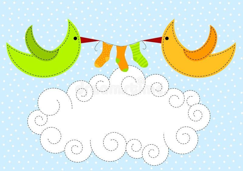 Vögel auf Wolken-Schätzchen-Dusche-Einladung vektor abbildung