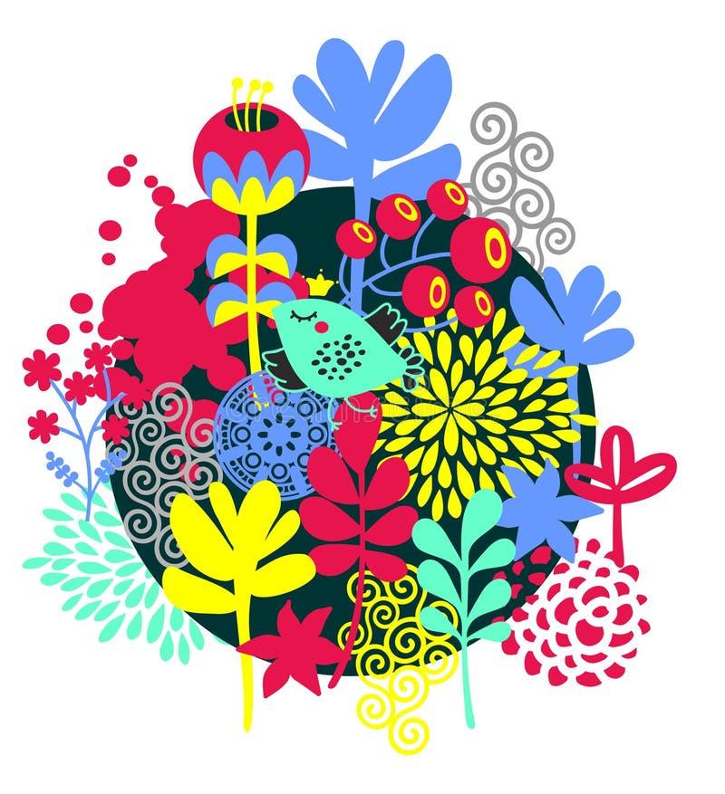 Vögel, Blumen und andere Natur. stock abbildung