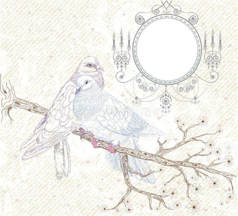 Vögel in der Liebe. Abbildung in der Retro- Art vektor abbildung