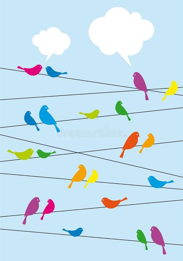 Vögel, Die Auf Draht, Hintergrund Sitzen Stock Abbildung ...