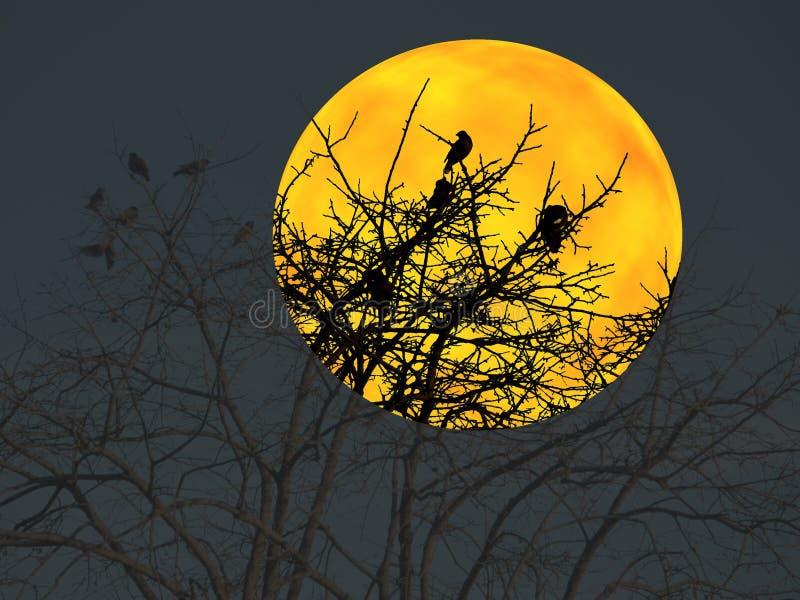 Vögel, die auf einem Baum stehen lizenzfreie abbildung