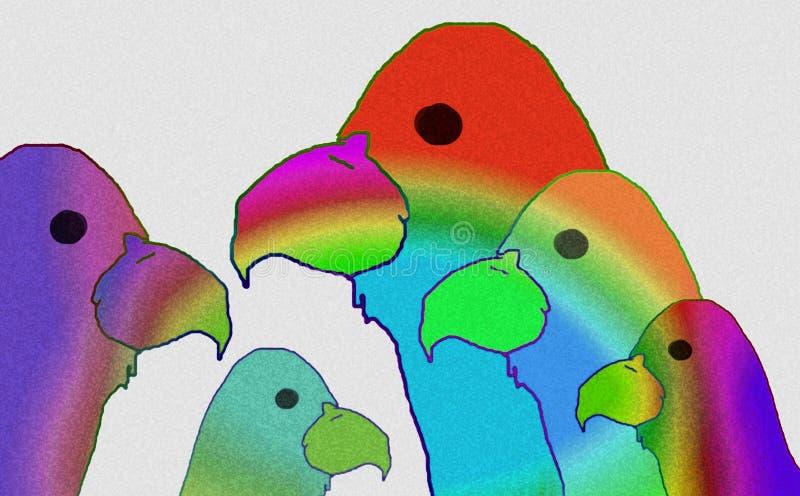 Vögel die Farben von Vögeln Glückliche Karikatur lizenzfreie abbildung