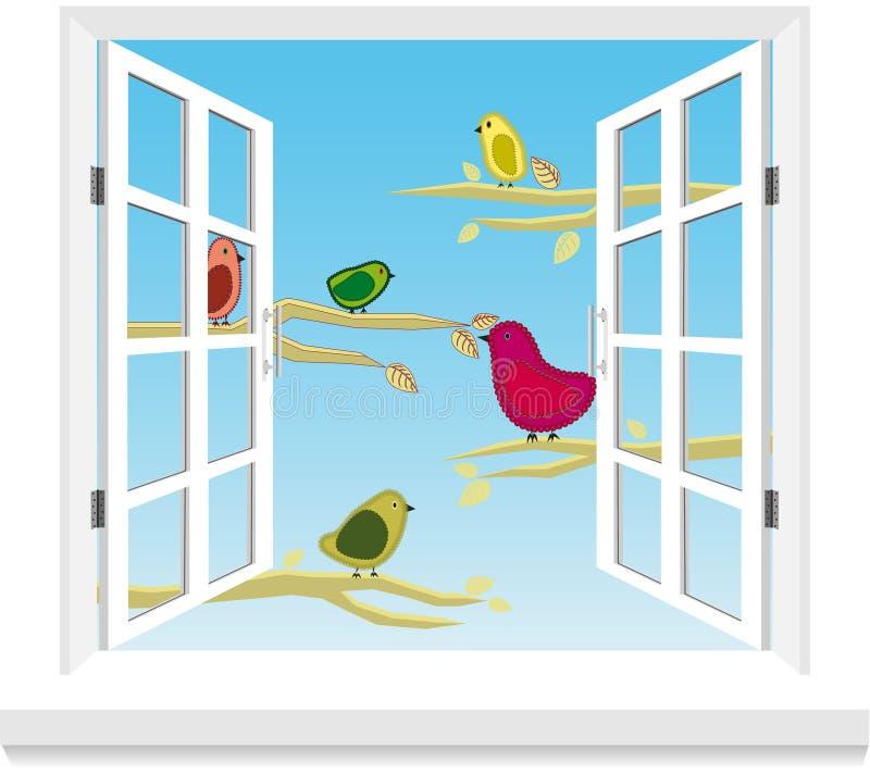 Vögel im Fenstervektor stock abbildung
