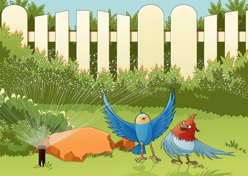 Vögel im Garten stock abbildung