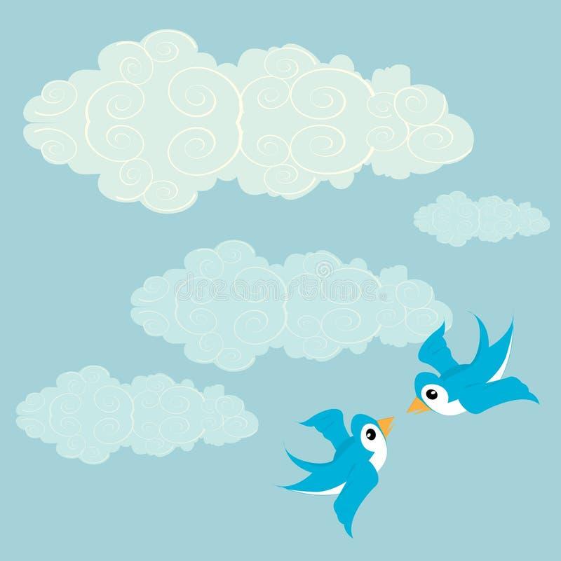 Vögel im Liebesflugwesen herum stock abbildung