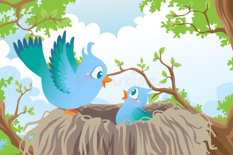 Vögel im Nest lizenzfreie abbildung