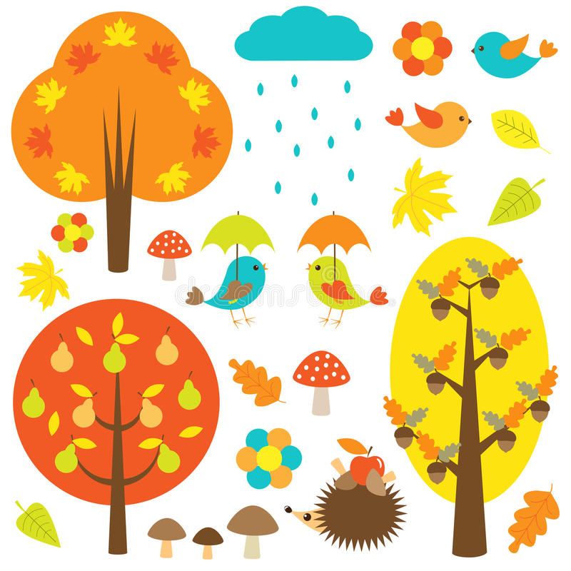 Vögel und Bäume im Herbst vektor abbildung