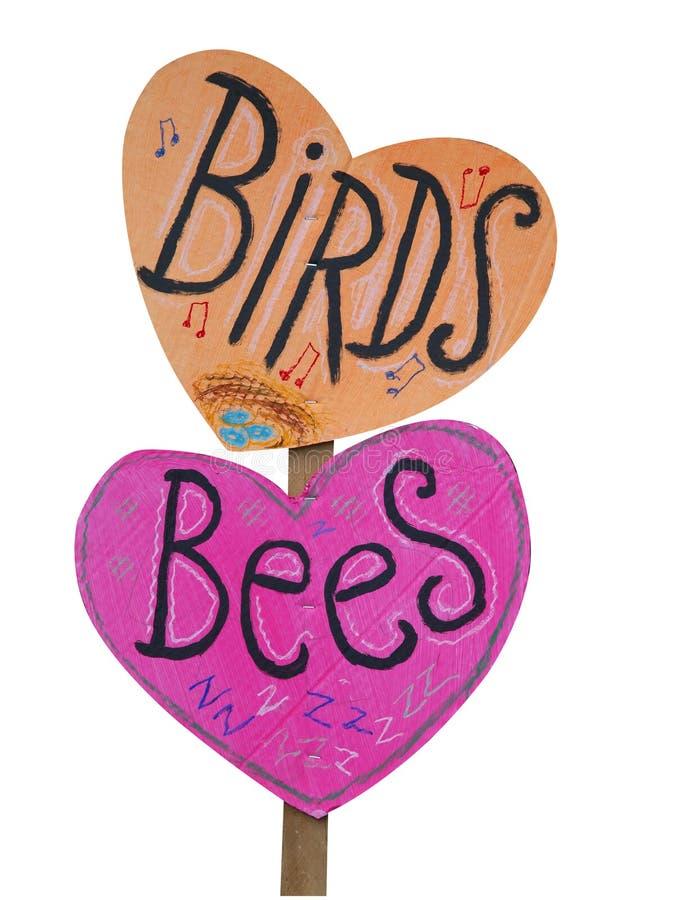 Vögel und Bienen-Schild stockfotos