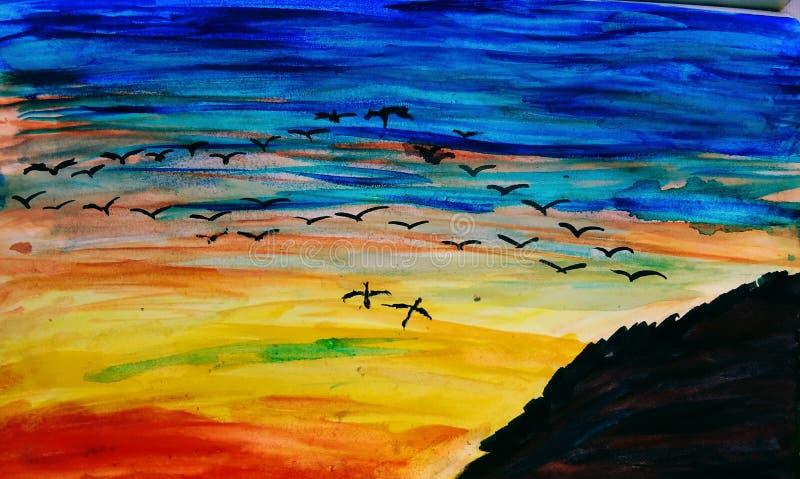 Vögel und die dramatische Skyline stockfotos