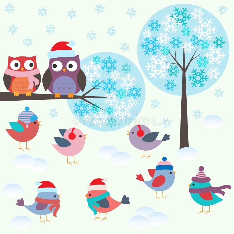 Vögel und Eulen im Winterwald vektor abbildung