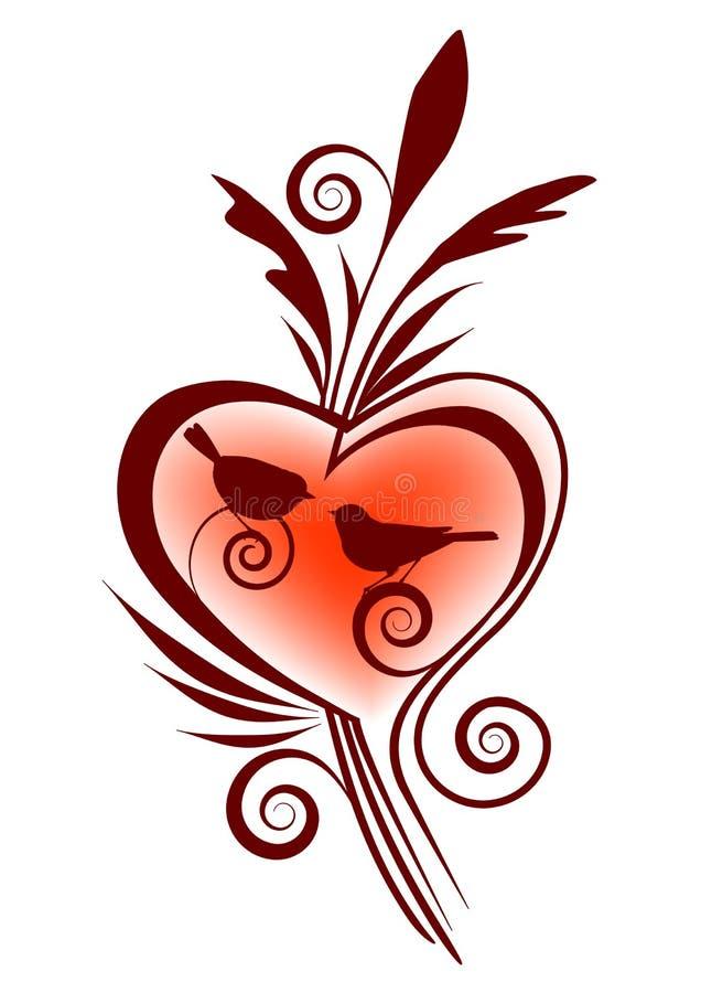 Vögel und Herz vektor abbildung