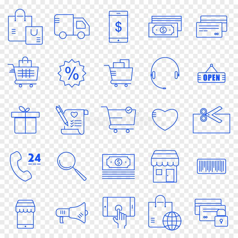 Völlig editable Datei ENV-10 25 Vektor-Ikonen verpacken lizenzfreie abbildung