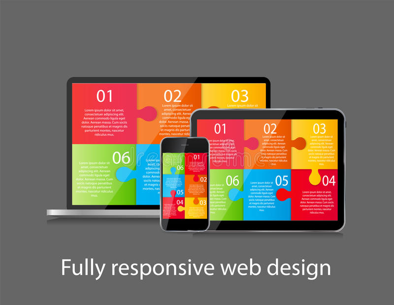 Völlig entgegenkommender Webdesign-Konzept-Vektor lizenzfreie abbildung