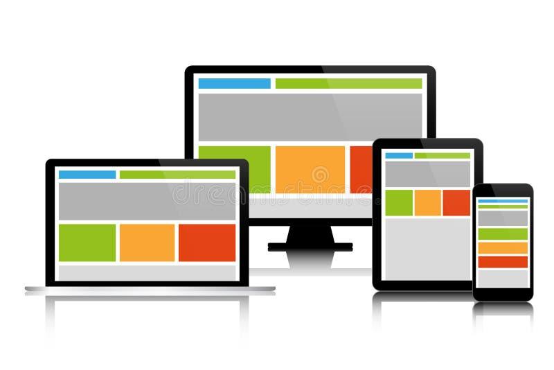 Völlig entgegenkommendes Webdesign in den modernen elektronischen Geräten lizenzfreie abbildung