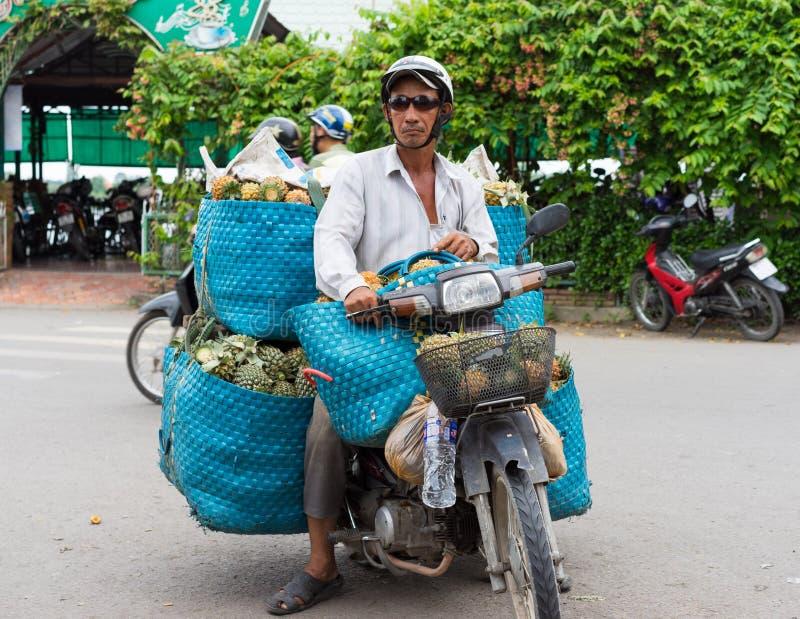 V?nh Long, Vietnam - 30 novembre 2014 : Conducteur de motocyclette transportant des fruits au marché de V?nh Long, delta du Mékon image stock