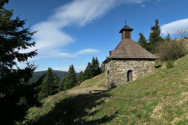 Vřesová studánka -  spring near Červenohorské sedlo in the Jeseníky Mountains royalty free stock images