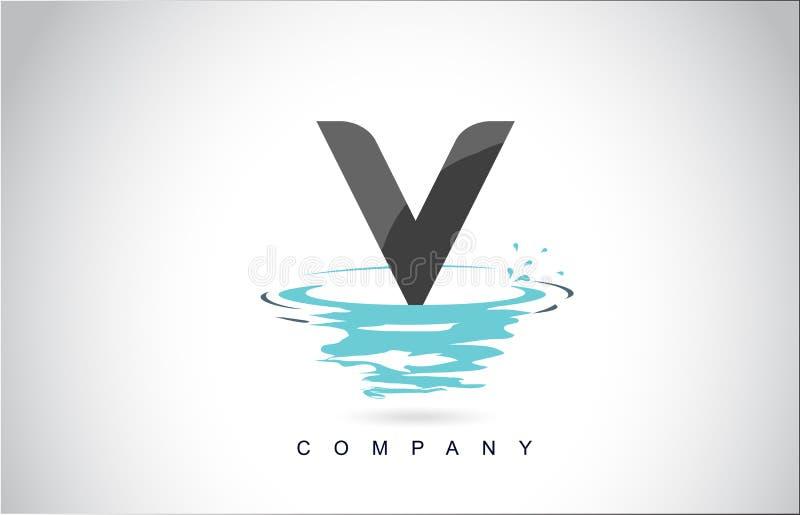 v信件与水飞溅的商标设计起波纹下落反射 向量例证