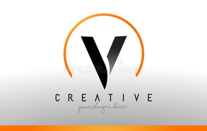 v信件与黑橙色颜色的商标设计 凉快的现代象T 向量例证
