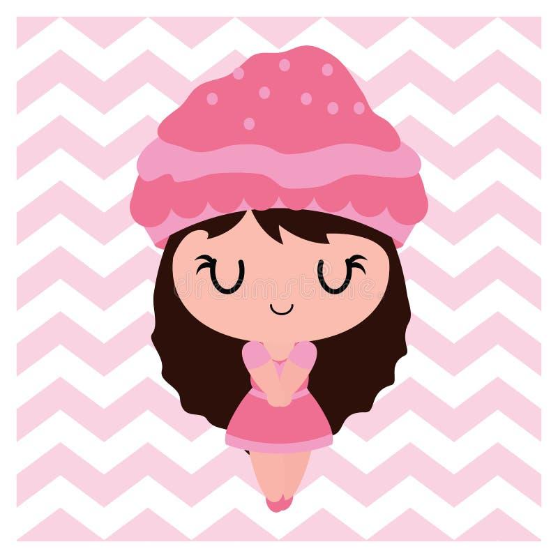 V形臂章背景动画片例证的逗人喜爱的杯形蛋糕女孩婴儿送礼会卡片设计的 向量例证